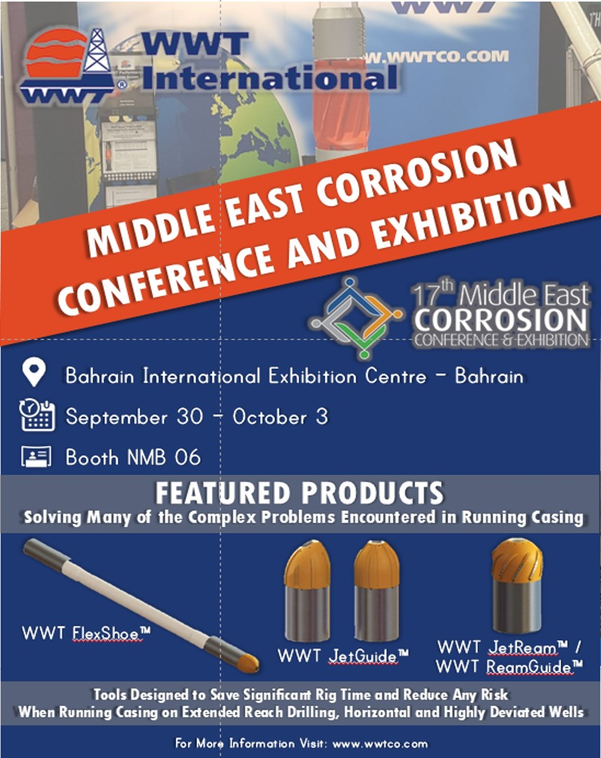 WWT International Exhibiting at the 17th Middle East Corrosion Conference and Exhibition (MECC)